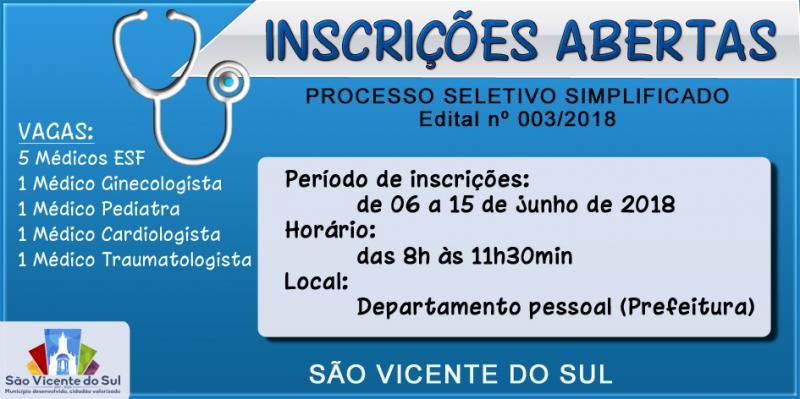 ABERTO PROCESSO SELETIVO SIMPLIFICADO PARA CONTRATAÇÃO DE MÉDICOS