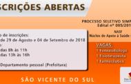 ABERTAS INSCRIÇÕES! PROCESSO SELETIVO SIMPLIFICADO Nº 005/2018