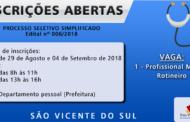 PROCESSO SELETIVO SIMPLIFICADO Nº 006/2018