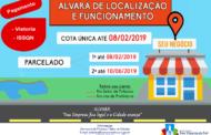 CALENDÁRIO DA TAXA DE VISTORIA E ISSQN FIXO PARA O ANO DE 2019