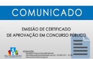 EMISSÃO DE CERTIFICADO DE APROVAÇÃO EM CONCURSO PÚBLICO