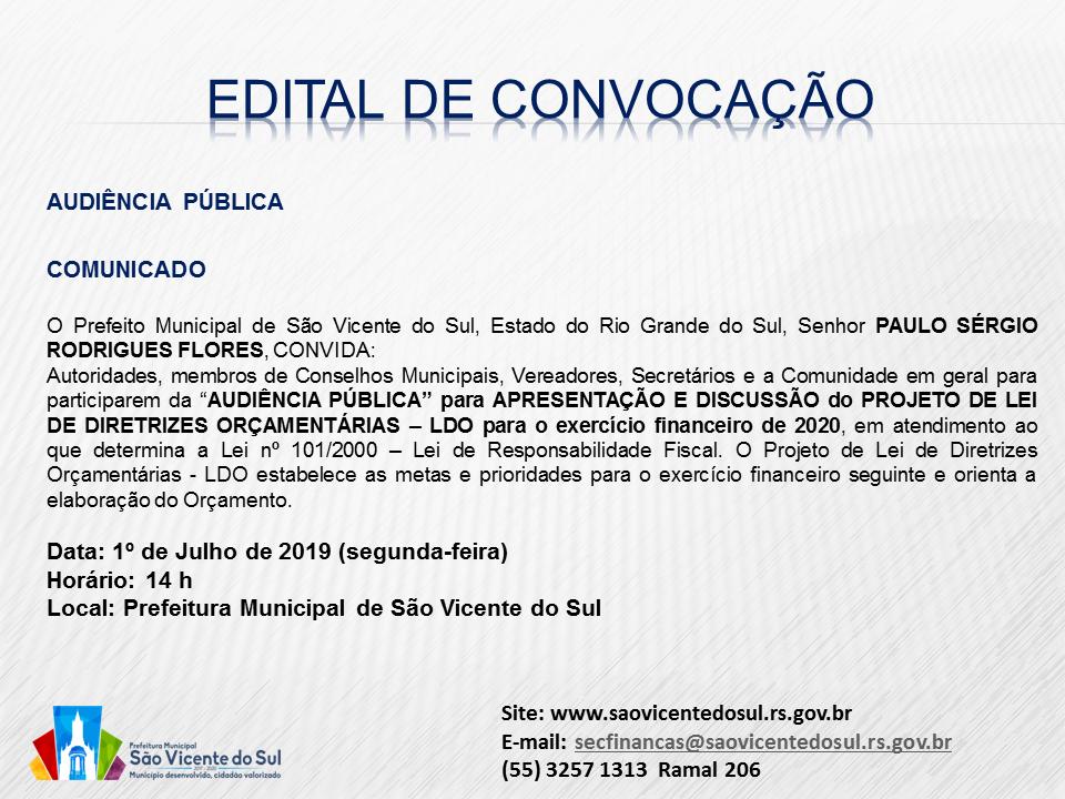 AUDIÊNCIA PÚBLICA DO PROJETO DE LEI DE DIRETRIZES ORÇAMENTÁRIAS
