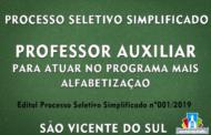 PROCESSO SELETIVO SIMPLIFICADO PARA PROFESSOR AUXILIAR PARA ATUAR NO PROGRAMA MAIS ALFABETIZAÇÃO