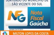 QUINTO SORTEIO MUNICIPAL DO PROGRAMA NOTA FISCAL GAÚCHA ACONTECEU NO DIA 26/09/2019