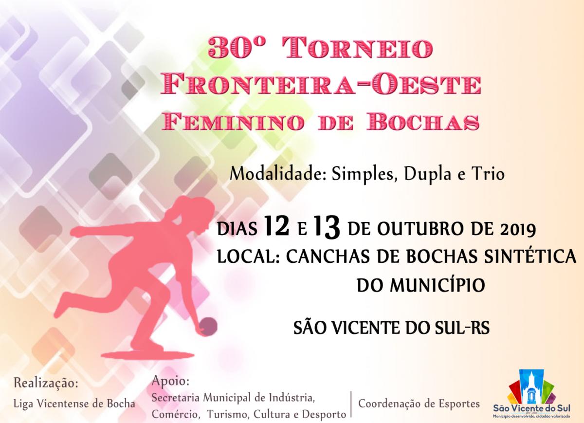 30º TORNEIO FRONTEIRA-OESTE FEMININO DE BOCHA