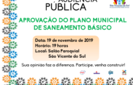 ADMINISTRAÇÃO MUNICIPAL REALIZARÁ AUDIÊNCIA PÚBLICA PARA APROVAÇÃO DO PLANO MUNICIPAL DE SANEAMENTO BÁSICO DE SÃO VICENTE DO SUL