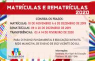 MATRÍCULAS E REMATRÍCULAS DA REDE MUNICIPAL DE ENSINO PARA O ANO DE 2020