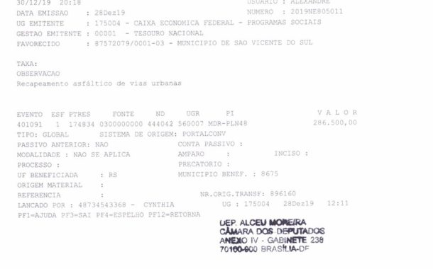 DEPUTADO ALCEU MOREIRA DESTINA VERBA DE R$ 286.500,00 PARA REVITALIZAÇÃO DA PAVIMENTAÇÃO ASFÁLTICA DA RUA CLARA LICHTENECKER
