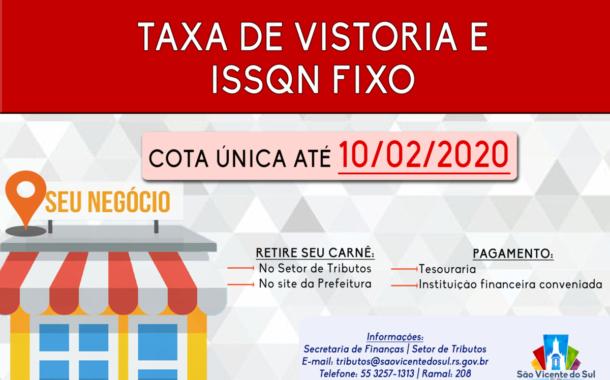 TAXA DE VISTORIA E ISSQN FIXO PARA O ANO DE 2020