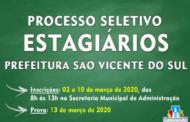 INSCRIÇÕES ABERTAS PARA O PROCESSO SELETIVO Nº 002/2020 PROGRAMA BOLSA ESTÁGIO – CIEE DE SÃO VICENTE DO SUL