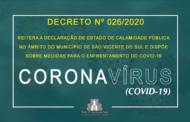 SÃO VICENTE DO SUL PUBLICA DECRETO REITERANDO A DECLARAÇÃO DE ESTADO DE CALAMIDADE PÚBLICA