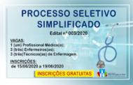 INSCRIÇÕES ABERTAS: Processo Seletivo Simplificado nº003/2020